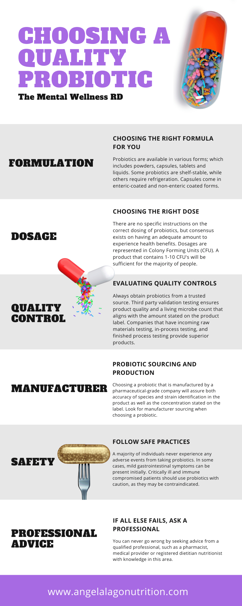 Infographic showing how to choose a quality probiotic