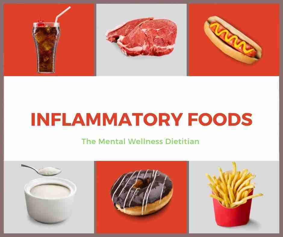 Image shows 6 types of inflammatory foods